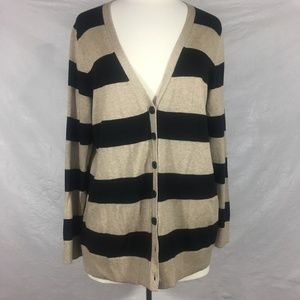 Gap Classic Cream Black Striped Cardigan XL